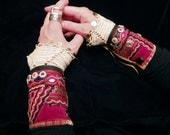 Gypsy Peace Cuffs A Pair of Red Cuffs India Uzbekistan Lace Velvets