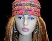 Hat Gypsy World Peace Indian Coral Pink Green Hat Kufi Cap Men Women Unisex Gypsy Boho Hippie