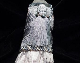 Cuff Blue Gypsy Slate Tasseled Peace Cuff Boho Hippie Gypsy Fabric Bracelet