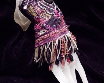 Cuff Gypsy Rose Black Peace Beaded Fringe Cuff Boho Hippie Gypsy Fabric Bracelet