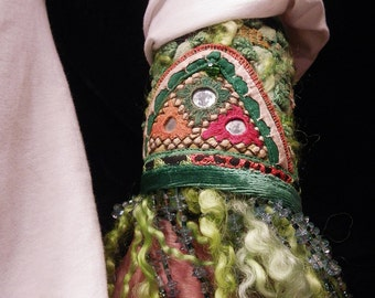 Cuff Green Chenille Indian Embroidery Fringe Bead Peace Cuff Boho Hippie Gypsy Fabric Bracelet