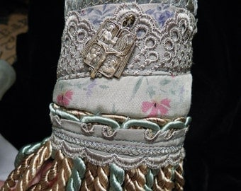 Cuff Sage Gypsy Catholic Medal Silk Cotton Fringe Peace Cuff Boho Hippie Gypsy Fabric Bracelet