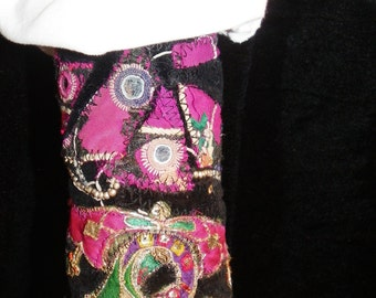 Peace Cuff Antique Black Velvet and Vintage Hot Pink Indian Embroidery Boho Hippie Gypsy Fabric Bracelet