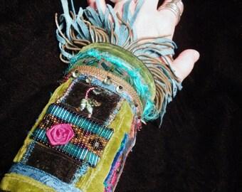 Bracelet Gypsy Peace Cuff Turquoise Rose Beaded Fringed Boho Hippie Wrist Band