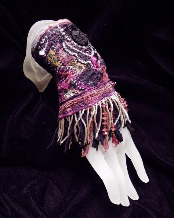 Cuff Gypsy Rose Black Peace Beaded Fringe Cuff Boho Hippie Gypsy Fabric Bracelet