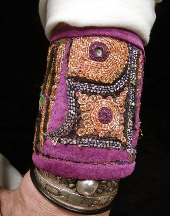 Cuff Purple Orange Indian Embroidery Smaller Peace Cuff