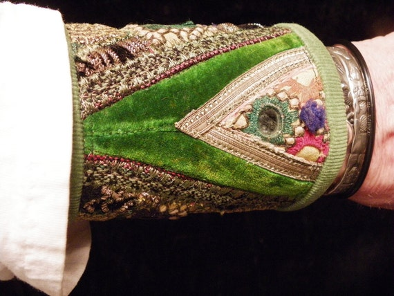Cuff Green Indian Uzbek Embroidery Peace Cuff