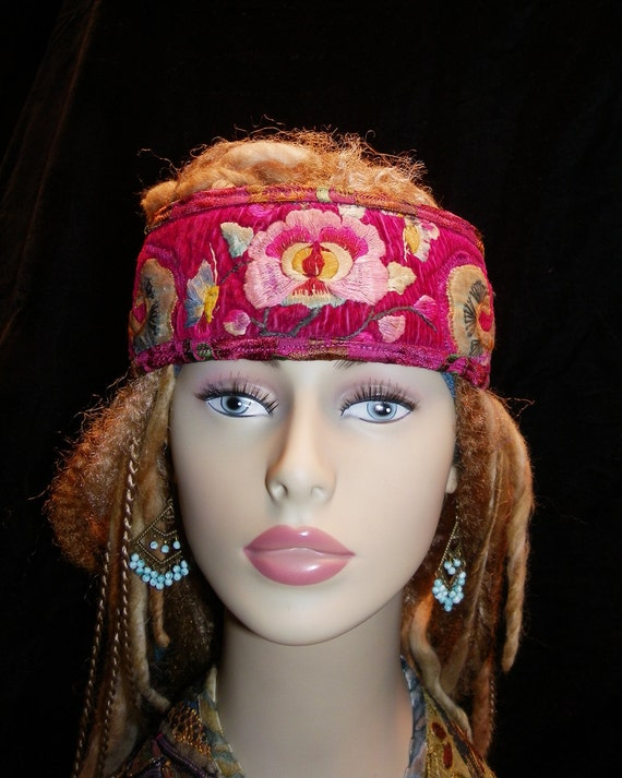 Headband Gypsy Peace Crown in Reds and Pinks