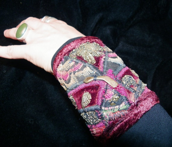 Gypsy Peace Cuff Red Velvet and Black Hmong Archaeological Find Milagro Boho Hippie Gypsy Fabric Bracelet