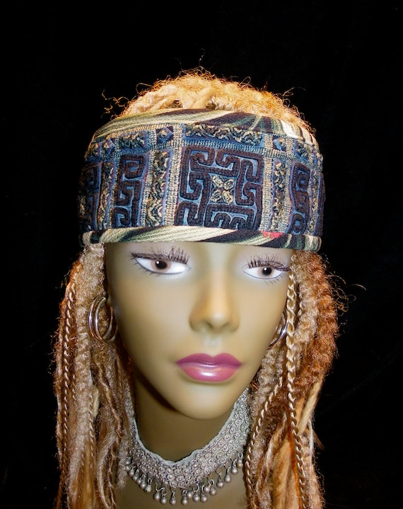 Headband Gypsy Peace Crown Hmong Black Green Embroidery
