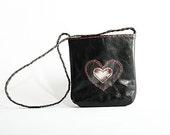 Charcoal Black Pocket sized Messenger handbag - genuine leather xxxx READY to SHIP xxxx