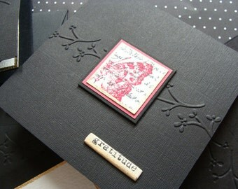 Elegant Thank You - Black and Rose Red with Gold Leafing