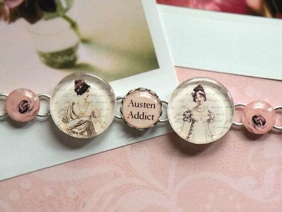 Jane Austen Fandom AUSTEN ADDICT Silver Bracelet Charm