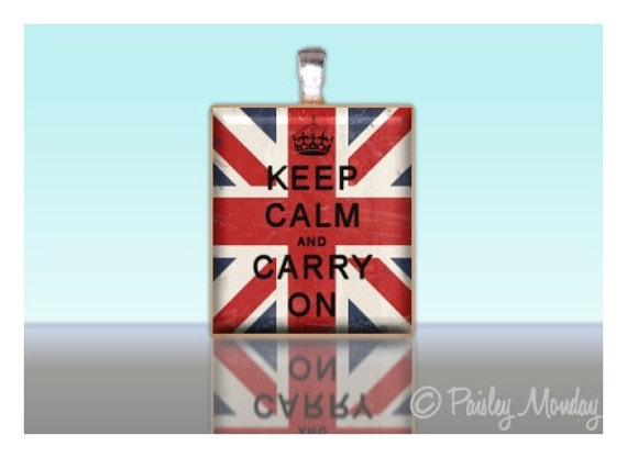 Scrabble Tile Pendant KEEP CALM and Carry On Union Jack British Flag Charm