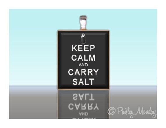 Scrabble Tile Pendant Keep Calm and Carry Salt SUPERNATURAL Custom Charm