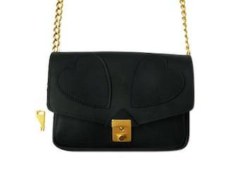 Hearts Leather Bag Black, handmade, heart, shoulder bag, Black leather bag, elegant bag