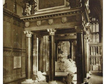 Queen Elizabeths Tomb, Westminster Abbey. Vintage Unused British Postcard