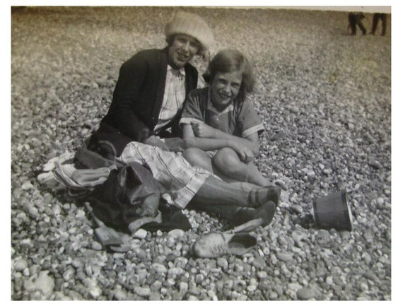 Vintage Black and White Beach Photo - Woman & Young Girl