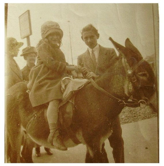 Antique Seaside Photograph - A Donkey Ride
