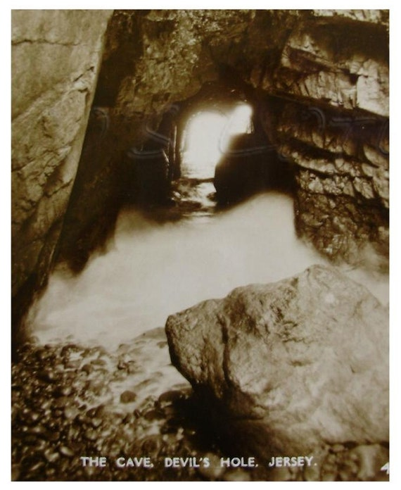 The Cave, Devils Hole, Jersey, UK. Vintage Real Photo Postcard RPPC