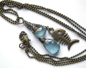 Pisces Necklace with Moss Aquamarine and Bronze Fish Charm