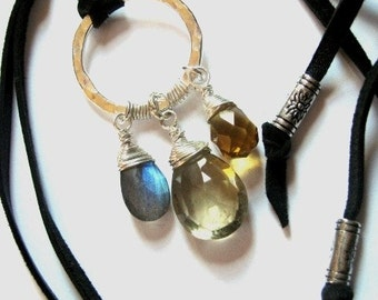 Leather Necklace with Lemon Quartz, Labradorite and Amber Quartz