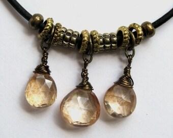 Mystic Copper Apricot Quartz Leather Necklace