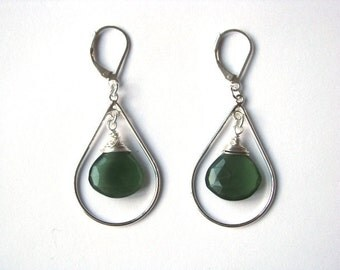 Russian Serpentine and Sterling Silver Earrings