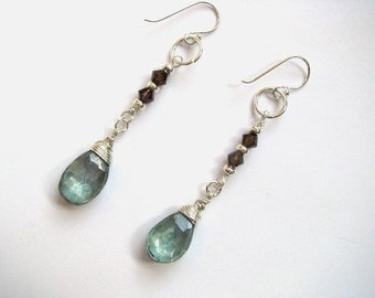 Smokey Topaz and Mystic Teal Green Quartz Earrings in Sterling Silver