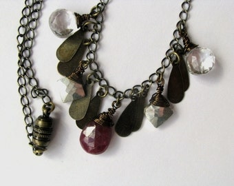 Ruby, Pyrite and Crystal Quartz Necklace