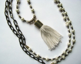 Meditation Tassel Necklace with Glass Pearl Beads and Antiqued Brass Bronze