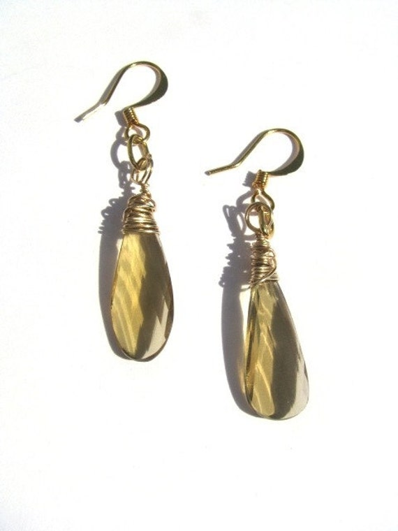 Whiskey Beer Quartz and Gold Earrings