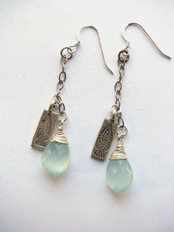 Pisces Earrings - Seagreen Chalcedony and Sterling Fish Charm