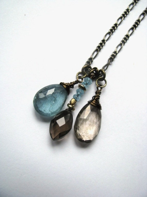 Steel Blue Moss Aquamarine, Mystic Smokey Quartz, Swiss Blue Topaz and Dark Smokey Quartz Necklace