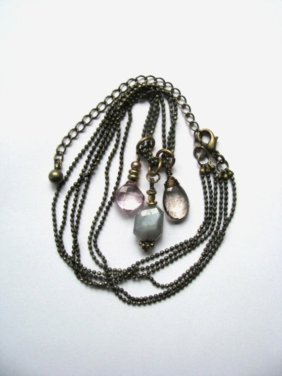 Luminous Gray Grey Moonstone, Mystic Pink and Smokey Quartz Necklace in Antiqued Brass