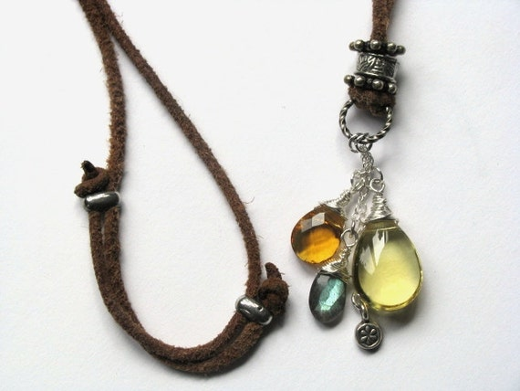 Leather Necklace with Lemon Quartz, Labradorite and Amber Quartz in Sterling Silver