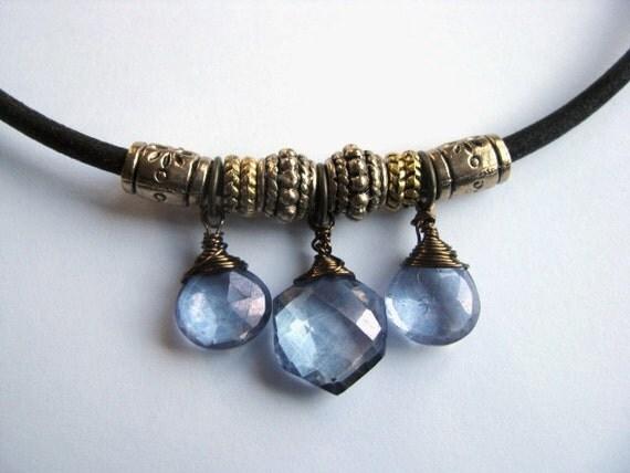Leather Necklace with Mystic Violet Quartz Briolettes