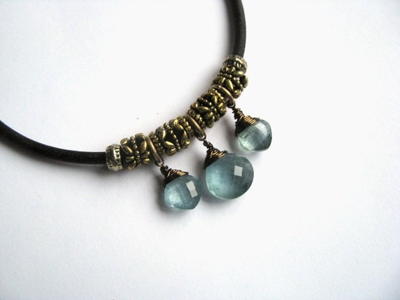 Leather Necklace with Moss Aquamarine Briolettes