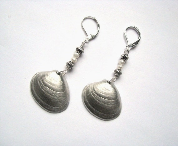 Hand Cast Pewter Clam Shell Earrings with Pearls