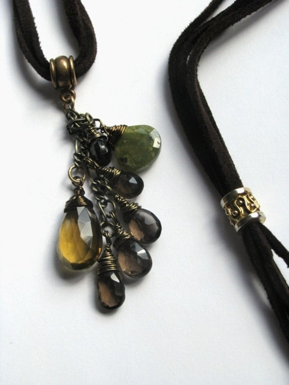 Leather Microsuede MultiStrand Necklace with Whiskey Quartz, Smokey Quartz and Vesuvianite