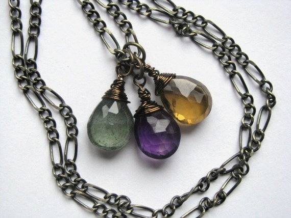 Reserved Listing for Roobroc - Stunning Trio of Amethyst, Beer Quartz and Moss Aquamarine