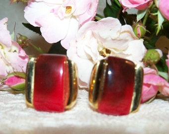 Sassy Signed GIVENCHY Red and Gold Tone Clip Earrings