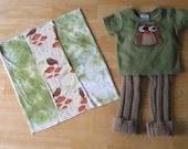 Owl Upcycled 100 Percent Wool Longie Set