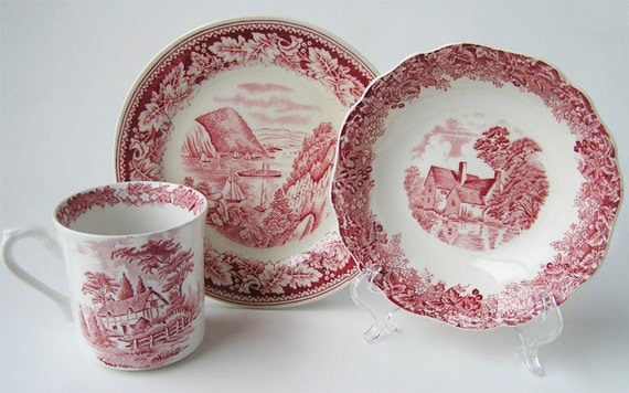 Vintage Red Transferware Dishes