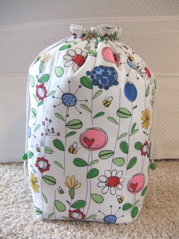 Knitting Pattern Storage Bag : Yarn Storage Knitting or Crochet Drawstring Bag by JannyBags