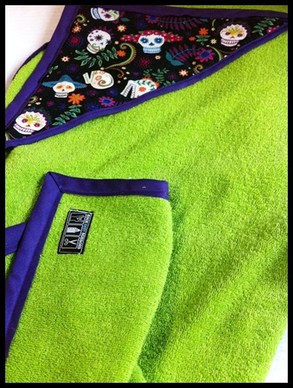 Lime green and dark purple hooded towel with embellished hood
