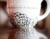 embellished white ceramic mug (pewter)