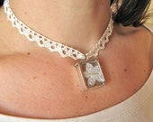 Laugh at the Rules . Choker . Sterling Silver Glass Frame Pendant . Vintage Lace