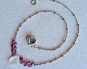 Rose Quartz and Garnet Necklace . Sterling Silver Toggle Clasp