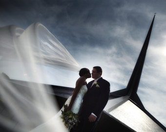 Veil - Cathedral Length Wedding Veil with Metallic Rolled edge